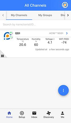 Ekran aplikacji do monitoringu rejestratorów Ubibot
