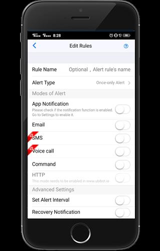 Powiadomienia w aplikacji Ubibot