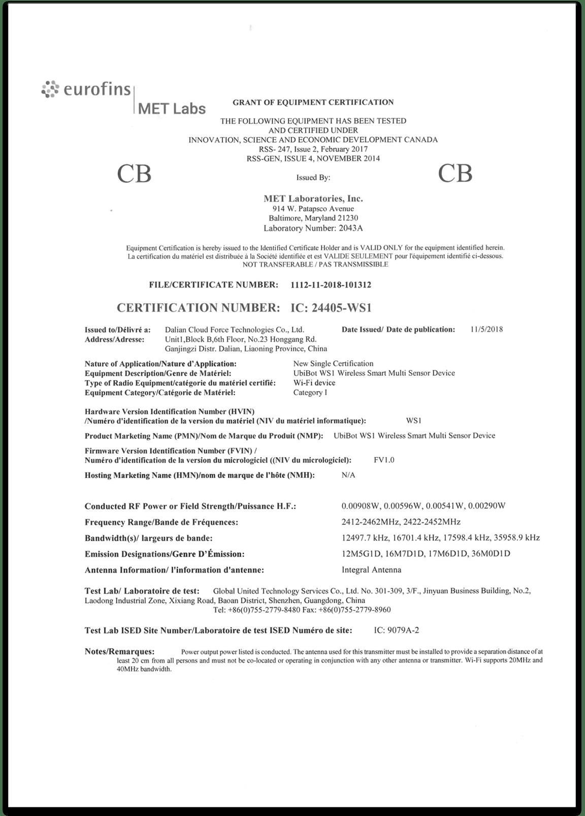 Zertifizierung des Datenschreibers ws1 CB
