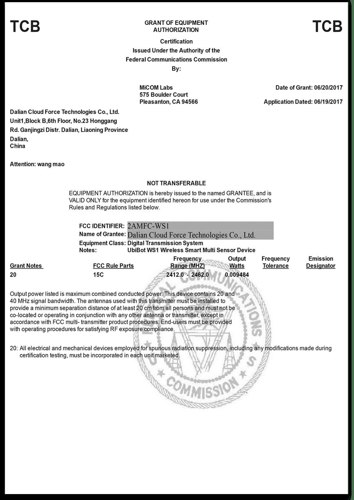 certyfikacja rejestratora ws1-FCC