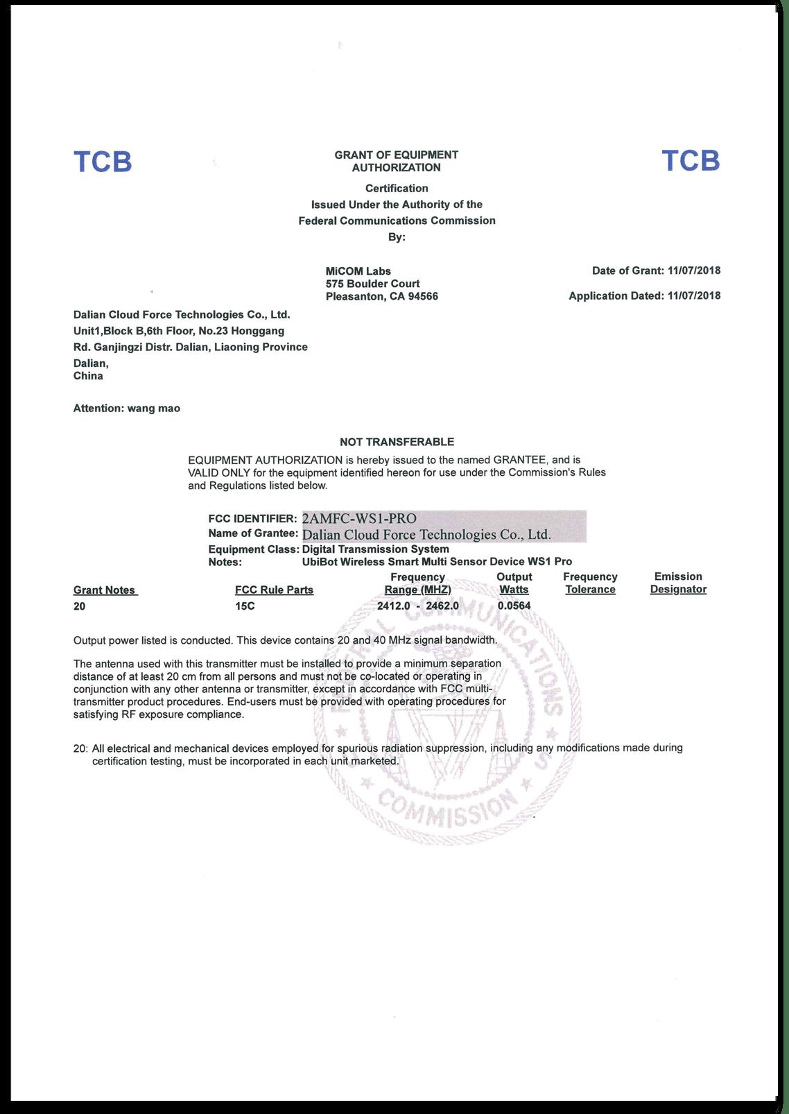 Datenlogger Zertifikat WS1 Pro FCC