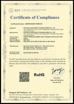 certyfikacja rejestratora WS1 Pro RoSH