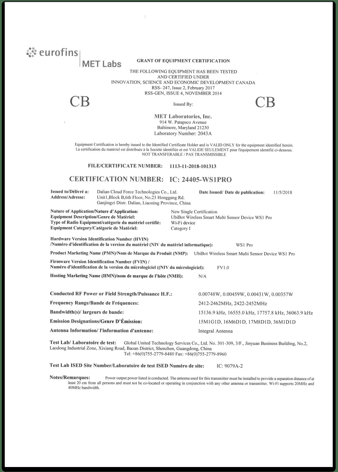 Datenlogger Zertifikat WS1 Pro CB