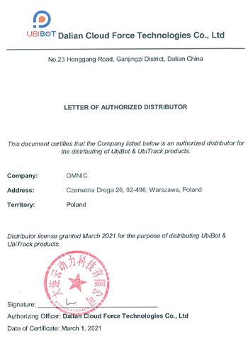 List autoryzacyjny dystrybutora Ubibot