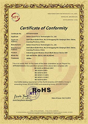 Certificate ROHS for GS1 data logger