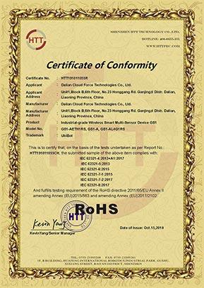 Сертификат ROHS для регистратора данных GS1