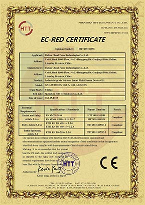 Certificate CE for GS1 data logger
