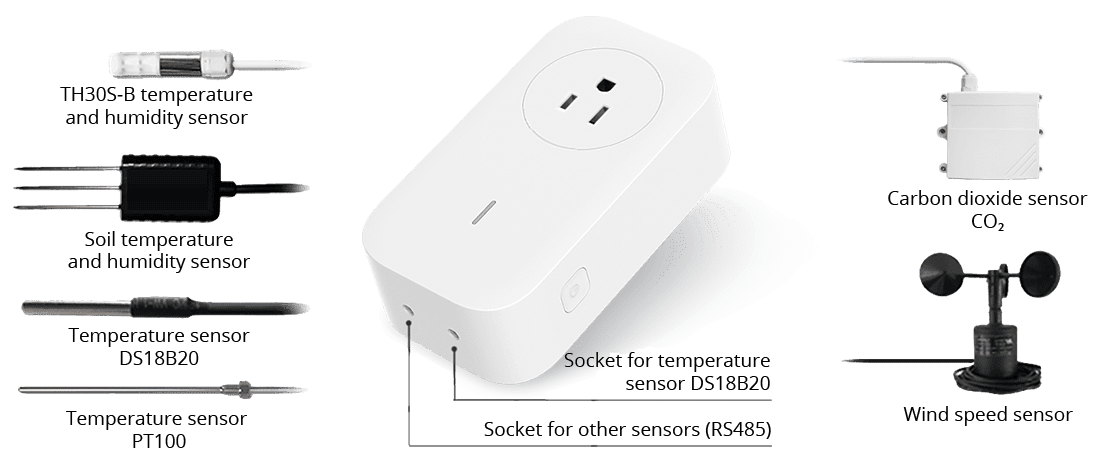 Additional sensors for temperature, humidity, CO2 and wind speed can be connected
